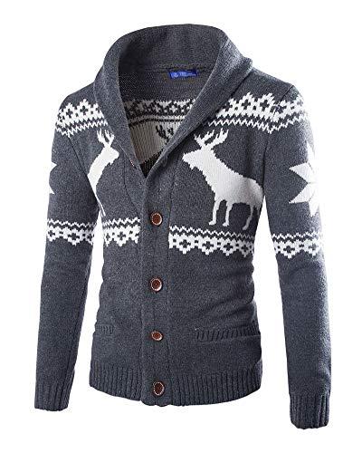 Tops da Uomo di Natale Invernale Cardigan Maglione di Lana Felpa Maniche Lunghe Basic con Bottoni Cappotto di Maglione Giacca di Maglia