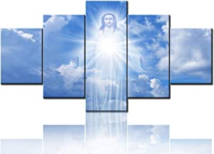 Large Christ Christian Canvas Wall Art Prints Jesus Christ in sky with clouds heaven with Sunlight Wall Decor Home Decals for Living Room Bedroom Modern Pictures 5 Panel Painting Framed (60''Wx32''H)