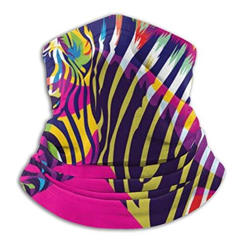 Zebra Colorful Animal Unisex Multifuncional de Microfibra a prueba de polvo calentador de cuello Bufanda Negro