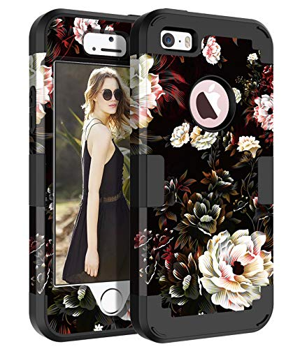Pandawell Compatible iPhone SE Case iPhone 5/5s Case Floral 3 in 1 Heavy Duty Hybrid Sturdy High Impact Shockproof Protective Cover Case for Apple iPhone SE/5s/5, Black/White Flower