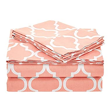 Superior 100% Cotton Trellis Geometric Bedding, 4 Piece Sheet Set, Soft and Breathable Cotton Sheets, 300 Thread Count with Deep Fitting Pockets - King, Coral