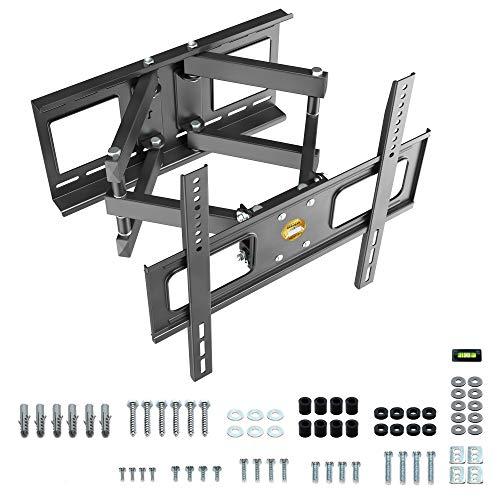RICOO TV Wand-Halterung für Flachbild-Fernseher Schwenkbar Neigbar (S1544) Universal 37-65 Zoll (bis 40-Kg, Max-VESA 400x400) Curved LCD OLED Fernsehhalterung