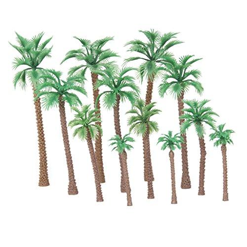 IPOTCH 12 Piezas De árbol Modelo De Palma Mixta, Plantas De La Selva Tropical HO N Z Escala Paisaje En Miniatura Paisaje De Juego De Diorama Suministr