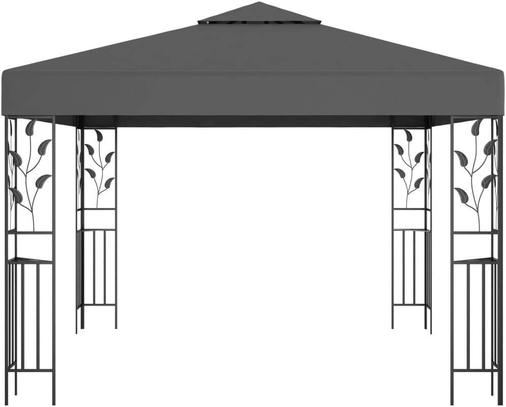 vidaXL Cenador Carpa Toldo de Exterior Jard/ín Carpa Tienda de Fiesta Sombra en Terraza Gazebo para Evento al Aire Libre Gris Antracita