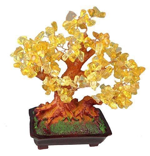 Feng Shui Glücksbaum 25 cm Geldbaum Bonsai Pfennigbaum Handarbeit Stein Gold