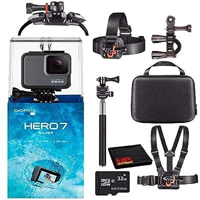 GoPro HERO7 Hero 7 Waterproof Digital Action Camera with 32GB microSD Card Starter Bundle (Silver) from GoPro