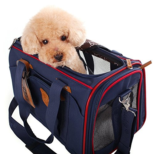 WOpet Deluxe Pet Carrier PU Leather Dog Carrier Dog Handbag Dog Carrier Purse Luxury Cat Carrier Bag for Outdoor Travel Walking Hiking (Blue)