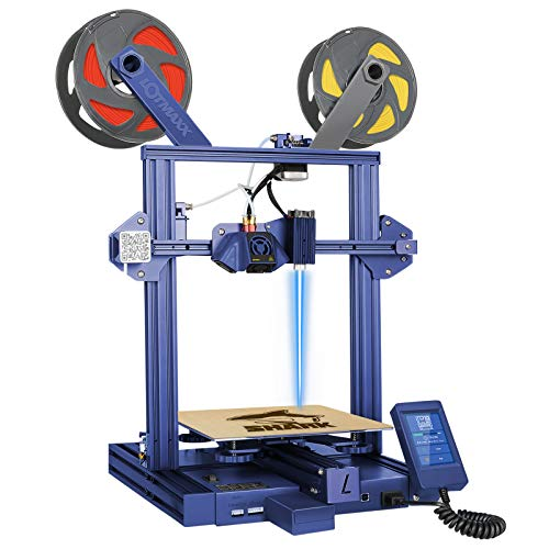 LOTMAXX Shark 3D Printer with Dual Extruder,Laser Engraving & Two-Color Printing 2 in 1, 95% Preassembled Metal 3D Printer Machine, Print Size 235x235x265mm, Blue (Laser not Included)