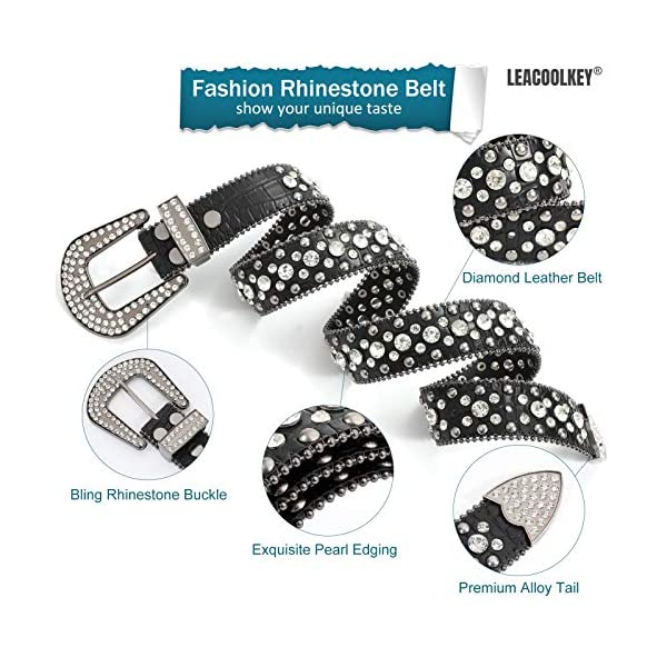 Western Cowgirl Studded Leather Belt 2