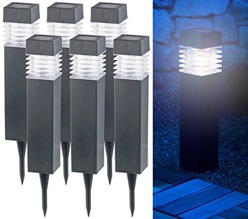 Lunartec Wegbeleuchtung: 6er-Set Moderne Solar-LED-Wegeleuchten mit Dämmerungs-Sensor (Gartenleuchten Solar)