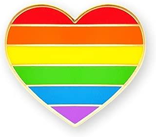 Pinsanity Rainbow Heart Enamel Lapel Pin