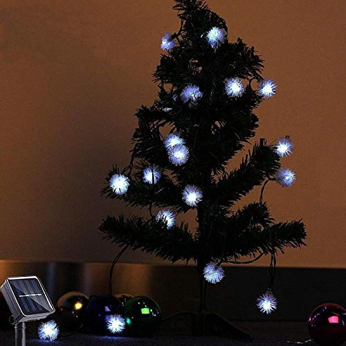 Solar Furry Ball Light String 7m 50LED 2 Kinds of Lighting Patterns Garden Garden Decoration Holiday Waterproof String Light White