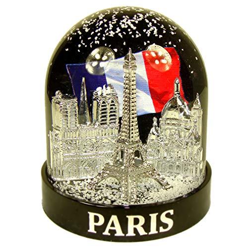 Souvenirs de France - Boule à Neige Luxe Paris 'Drapeau' en Coffret Cadeau - Noir