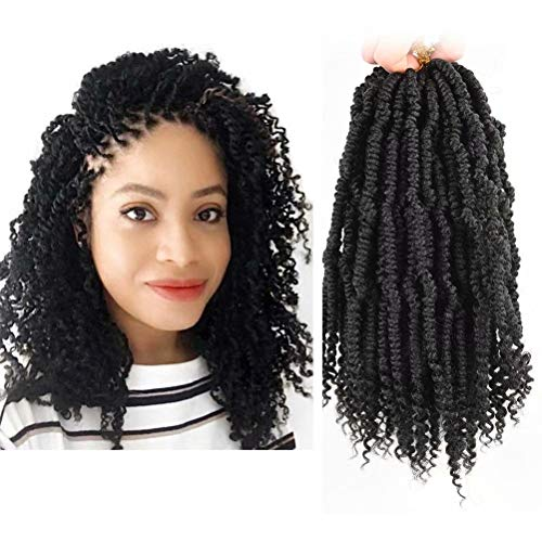 6 Packs Bomb Twist Crochet Hair 10inch Spring Twist Crochet Braids Hair Passion Twist Hair Pre looped Crochet Hair Synthetic Braiding Kinky Twist Crocet Braiding Hair for Black Women(1B#)