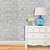 HeloHo 3D Brick Wallpaper Peel and Stick Wallpaper Grey Brick Wall Paper Self-Adhesive Removable Vinyl Wallpaper Faux Brick Textured Wallpaper for Room Background Backsplash Decoration 17.71' X 118'
