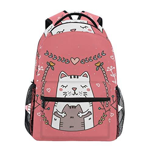 Love Cat Gatito Mochila Escolar Impermeable Mochilas Escolares para Estudiante Adolescentes Niñas Niños