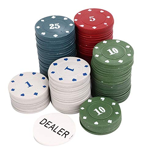 Pokerchips, 100 Stück/Box Pokerchips Professionelle Familie Pädagogische Digitale Chips Pokerchips Set Fun Game Night Supplies Kinder und Erwachsene