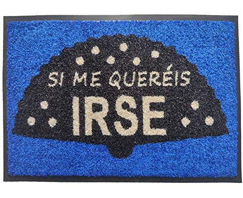 Felpudo PASO Original SI ME QUEREIS IRSE Alfombra Divertida para Entrada de casa 40x60 Antideslizante (Azul)