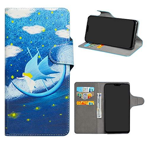 Asus Zenfone Max Pro (M2) Leder hülle,HHDY Painted Muster Wallet Handyhülle mit Kartenfächer/Standfunktion Hülle Cover für Asus Zenfone Max Pro (M2) ZB631KL,Dream Voyage
