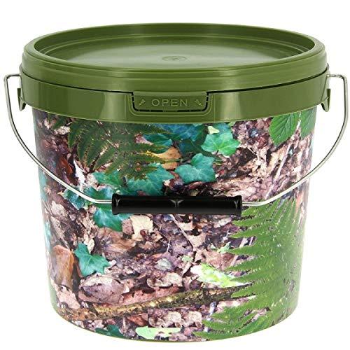 Kunststoffeimer Camouflage 10 Liter Ködereimer Futtereimer Boilie Grundfutter 723