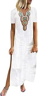 Fankle Women's Maxi Dresses Muslim Kaftan Bohemian Print V-neck Short Sleeve Side Slit Dresses Summer Casual Loose Sundress