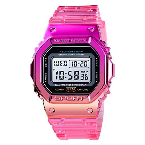 Reloj de pulsera Vigoroso para hombre y mujer, de cuarzo, con LED, resistente al agua, 5 ATM