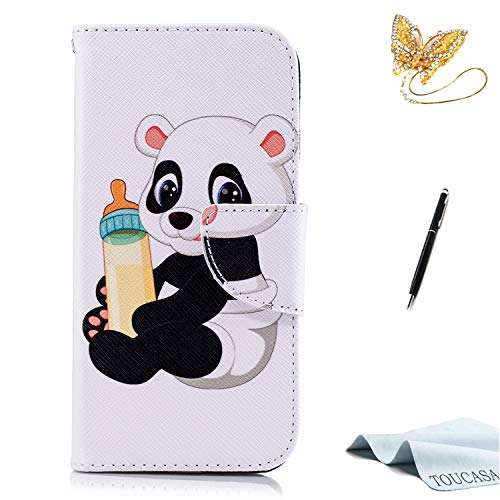 TOUCASA iPhone 6S Handyhülle,iPhone 6 Hülle, Brieftasche flip etui Tasche 360 Grad Karte Halterung Kartenfächer extra Dünn Klapphülle Leinwand Farbmalerei Art füriPhone 6S/iPhone 6(Baby Panda)