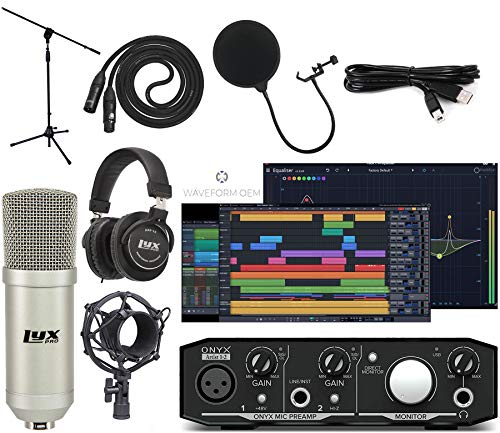 Mackie Onyx Artist 22 Audio/Midi interface With Pro Tools First/Tracktion Music Production Software Studio Bundle with Professional Recording Condenser Microphone