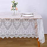 Lace Party Tablecloth Rustic Floral Fabric Rectangle Vintage Embroidered Lace Overlay for Farmhouse Wedding Decoration Tea Spring Summer Outdoor Party White 60x120 inch