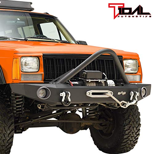 Tidal Stinger Front Bumper with Winch Plate Fit for 84-01 Cherokee XJ Comanche MJ