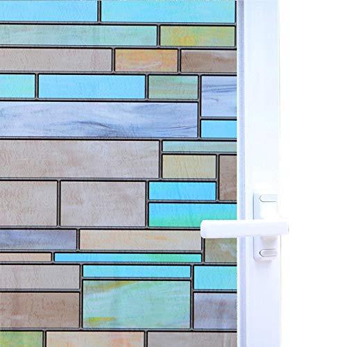 Zindoo Fensterfolie Sichtschutzfolie No-Kleber Bunte Dekofolie Abdeckungs Ziegelstein Film Statisches Selbstklebendes Fensterfolie Glasfenster-Hitzesteuerung Anti-UV 44.5 x 200CM