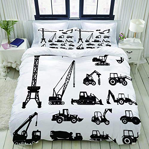 702 Bydsone Duvet Cover Set, Set of Heavy Construction Machines Icons, Decorative 3 Piece Bedding Set with 2 Pillow Shams