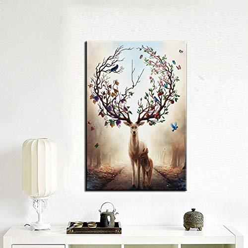 Geiqianjiumai Arte Mural sobre Lienzo de impresión Moderno Abstracto Flor astas de Ciervo póster sobre Lienzo Sala de Estar decoración del hogar Pintura sin Marco 30x45 cm