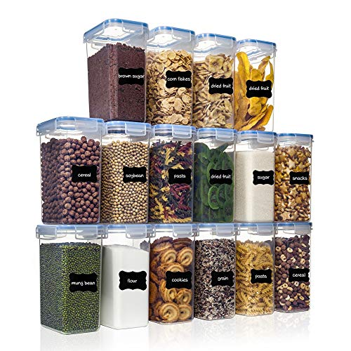 Airtight Food Storage Containers with Lids 16pcs Set 2L/18qt PantryStar Air Tight Flour Sugar and Cereal Containers Kitchen Pantry Organization Ideal for Dry Food and Baking Supplies