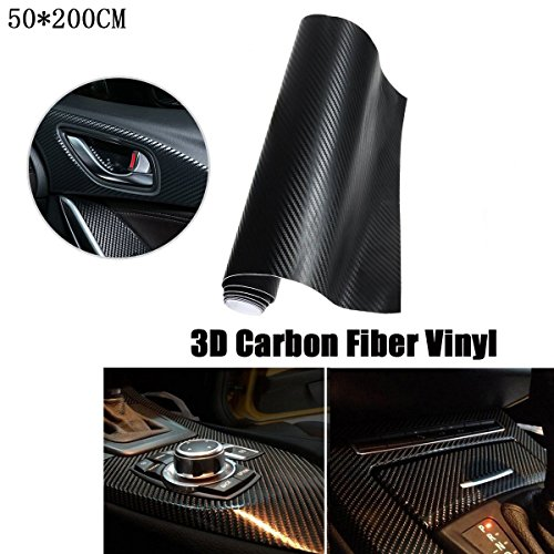 SMKJ Kohlefaser 3D Auto Aufkleber Schwarz Carbon Folie Glanz Vinyl Auto DIY Klebefolie Film Dekor Gr.200x50cm