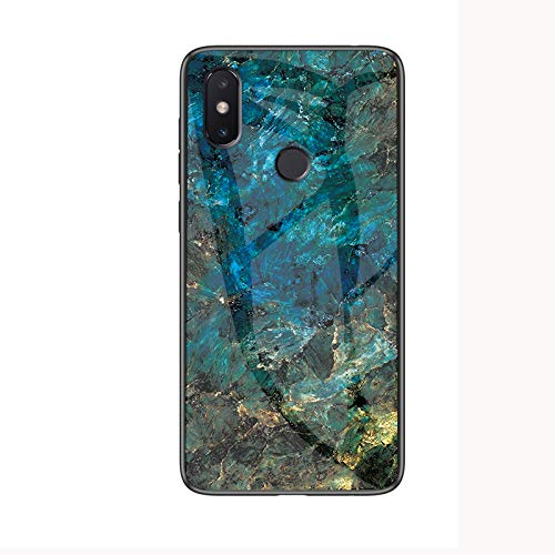 Xiaomi Redmi S2 Hülle,Marmor Gehärtetem Glas und Silikon Rand Hybrid Hardcase Stoßfest Kratzfest Handyhülle Dünn Hülle Cover für Xiaomi Redmi S2 (Blau)