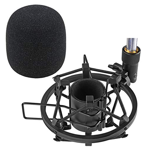 SUNMON SM58S Microphone Shock Mount Holder with Foam Windscreen for Absorbe Vibration and Noise, Pop Filter Suitable for Shure SM58S, SM58 Dynamic Mic