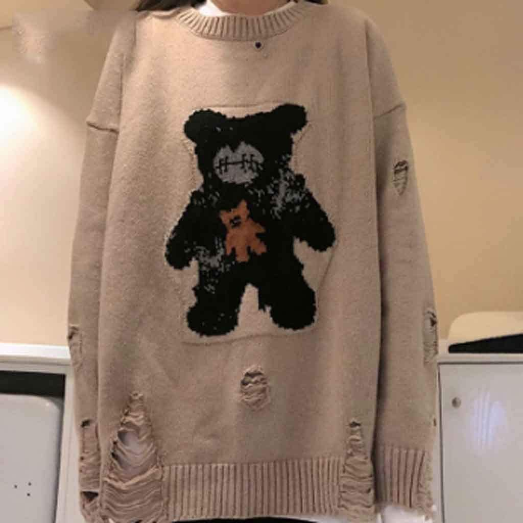 ZYING Casual Street Bear Jacquard Destroyed Hole Knitted Sweater Autumn Winter Loose Neck Warm Pullover Sweater Women Men