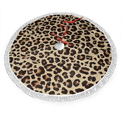 MSGUIDE Cheetah Leopard Christmas Tree Skirt with Tassel, Xmas Tree Mat Base Cover Christmas Ornament for Festive Holiday Party Decoration(48inch)