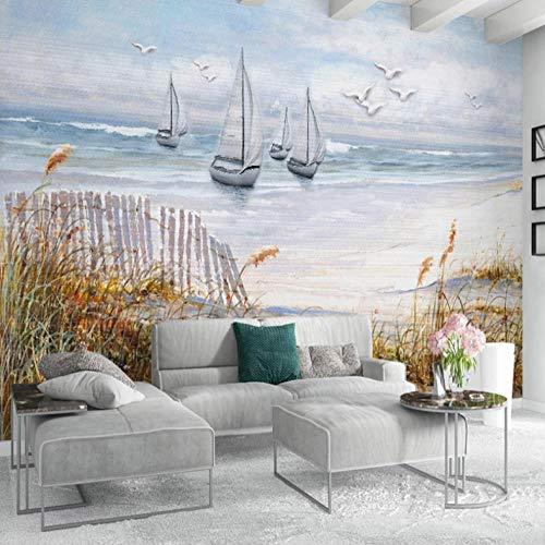 Muurschildering Tv achtergrond muur woonkamer slaapkamer bank huis decor behang zeilboot meeuw zeeland olieverfschilderij 3D wallpaper 400cm*280cm Lm005
