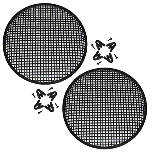Custom Install Parts 10'' Inch Car Audio Speaker Sub Woofer Metal Black Grill Cover Guard Pack of 2 (Pair)