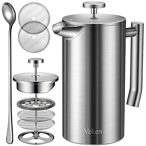 Veken French Press Double-Wall 18/10 Stainless Steel Coffee & Tea Maker, Multi-Screen System, 2 Extra Filters Included, Rust-Free, Dishwasher Safe, (1L)