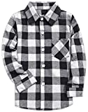 Little Boys Cotton Long Sleeves Gingham Plaid Flannel Shirt Tops, White Black, Age 9T-10T (9-10 Years) = Tag 160