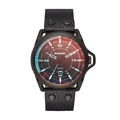 Diesel Rollcage - Reloj análogico de cuarzo con correa de cuero unisex, color negro