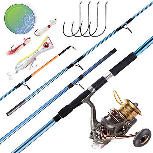 Dr.Fish Saltwater Fishing Rod and Reel Combos Surf Casting 12ft Surf Rod Carbon Fiber 10000 Spinning Reel Heavy Duty Big Game Offshore Inshore Fishing Complete Outfit GT Popper