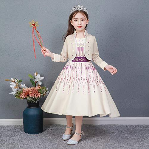 Niña Princesa Anna Disfraz Fiesta de Cosplay Vestido de Manga Larga Carnaval Fiesta Halloween Cosplay Navidad Ceremonia Costume Khaki 02 10-11 años