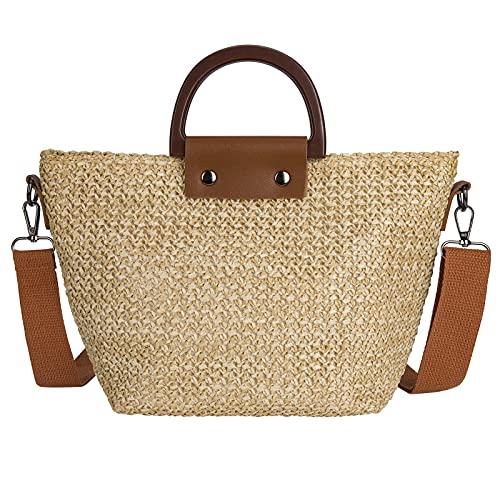 bolso de hombro tejido de paja de verano, bolso de playa, bolso de mensajero tejido de paja para mujer, bolso de paja tejido a mano, viajes al aire libre