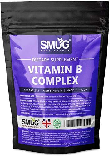 Essential Vitamin B Complex Tablets by Smug Supplements - Includes Multi B-Vitamins B6, B12, B5, B3 and Biotin. (120 Tablets - Single Pouch)