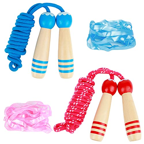 Corde à sauter réglable pour enfants, 2 pièces de 200 cm, poignée en bois, corde à sauter pour garçons et filles, développement des os et 2 cordes à sauter en caoutchouc pour jeux de fitness