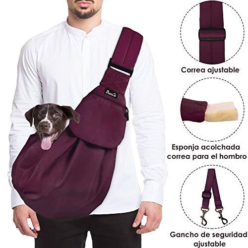 SlowTon Bandolera para Perro, Pet Carrier Dog Puppy Hand Sling para Cachorros Bandolera Correa de Hombro Acolchada Ajustable Tote Bag con Bolsillo Delantero Puppy Bolsa Bandolera de